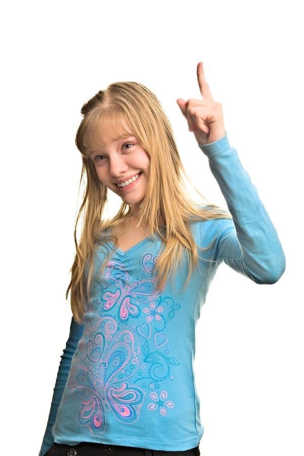 Menina e polegar louros felizes fotos de stock royalty free