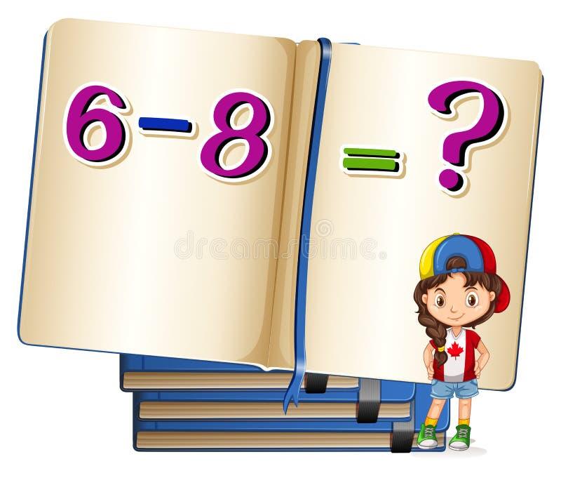 Menina e problema de matemática na subtração ilustração do vetor