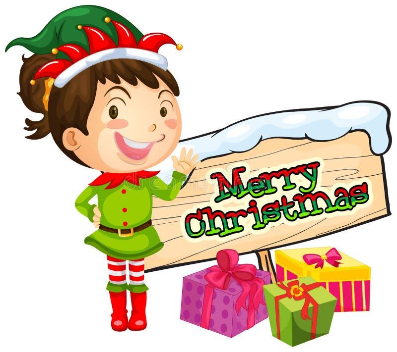 Menina e sinal do Feliz Natal ilustração do vetor