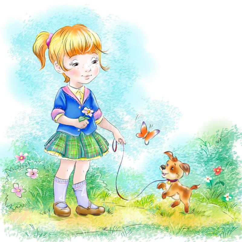 Menina e sua arte pequena dos desenhos animados do cachorrinho ilustração stock