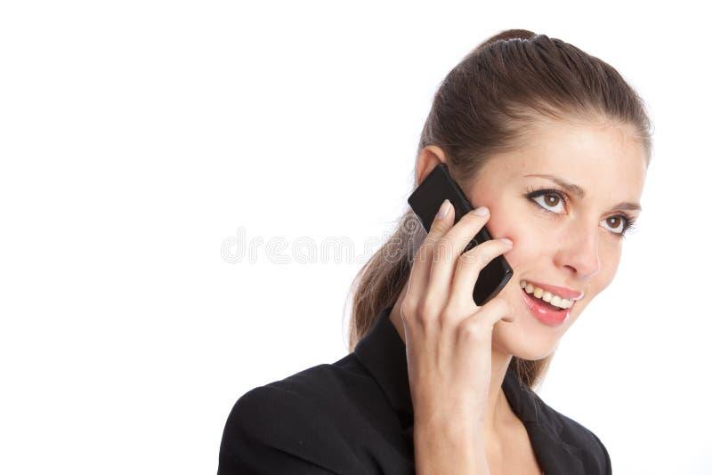 Menina e telefone móvel fotografia de stock