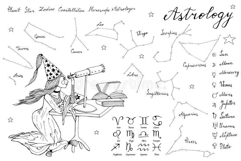 Menina e telescópio tirados mão do astrólogo do sonhador ilustração do vetor