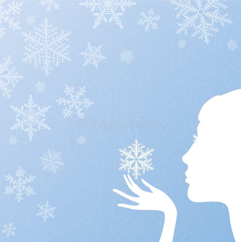 Menina e um floco de neve ilustração royalty free