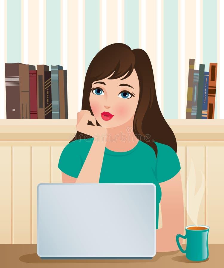 Menina e um portátil ilustração do vetor