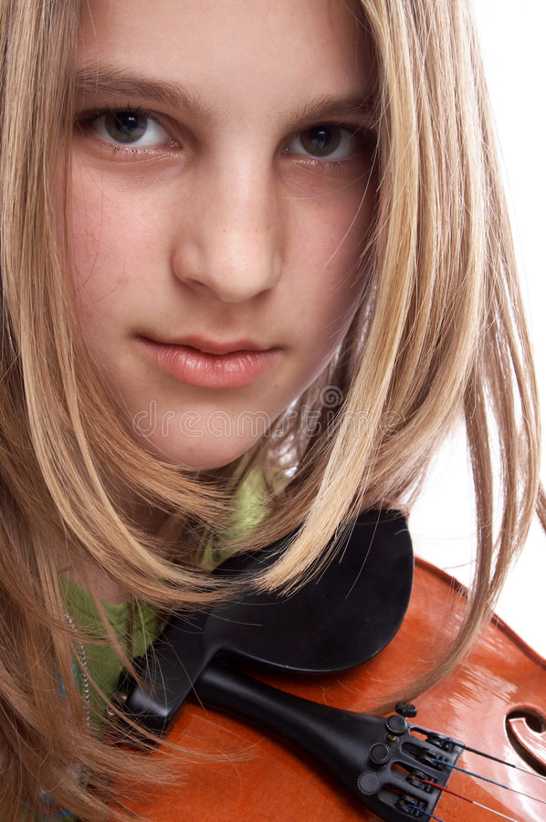 Menina e um violino fotografia de stock