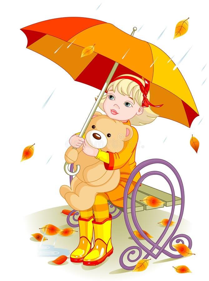 Menina e urso da peluche sob a chuva ilustração royalty free
