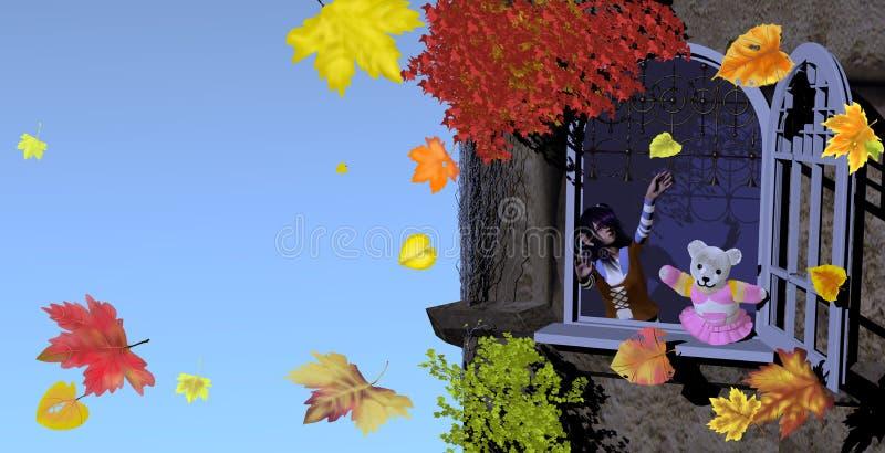Menina e urso de peluche que joga com folhas de outono ilustração do vetor