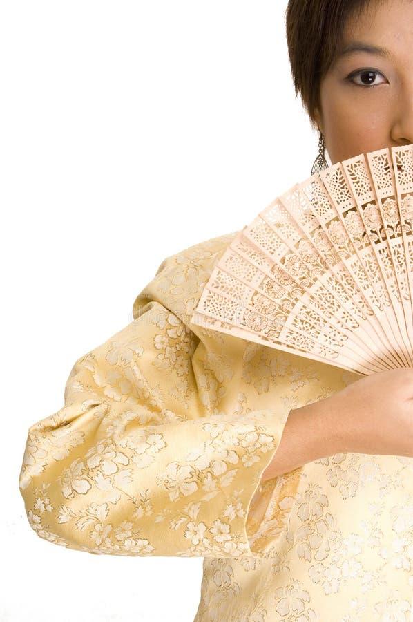 Menina e ventilador asiáticos 4 fotografia de stock