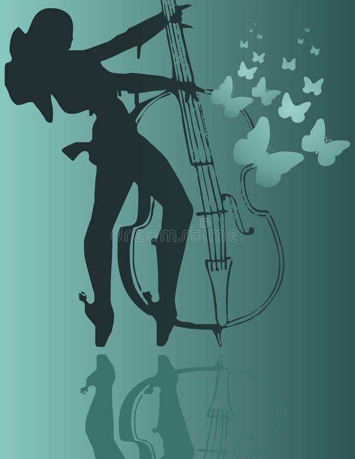 Menina e violoncelo ilustração stock