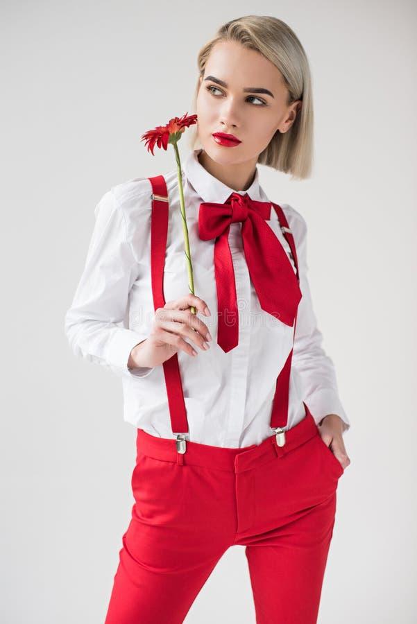 a menina elegante bonita que levantam na camisa branca e os suspensórios vermelhos com gerbera vermelho florescem, fotografia de stock royalty free