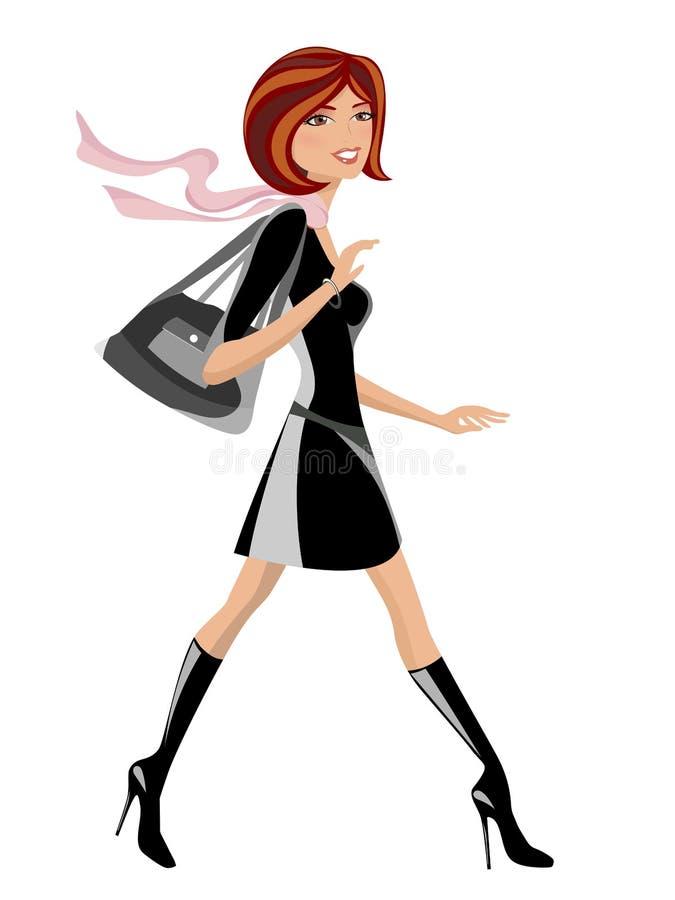 Menina elegante com passeio da bolsa ilustração royalty free