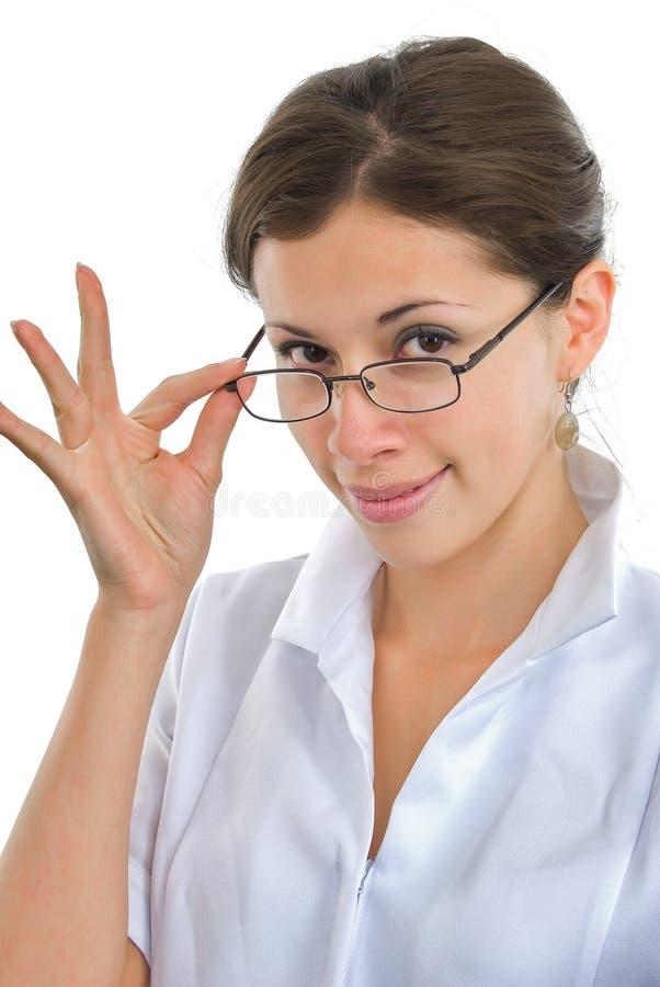 Menina elegante do doutor com vidros fotografia de stock
