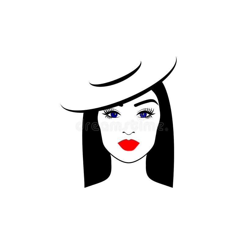 Menina elegante em um chapéu com olhos azuis imagem de stock royalty free