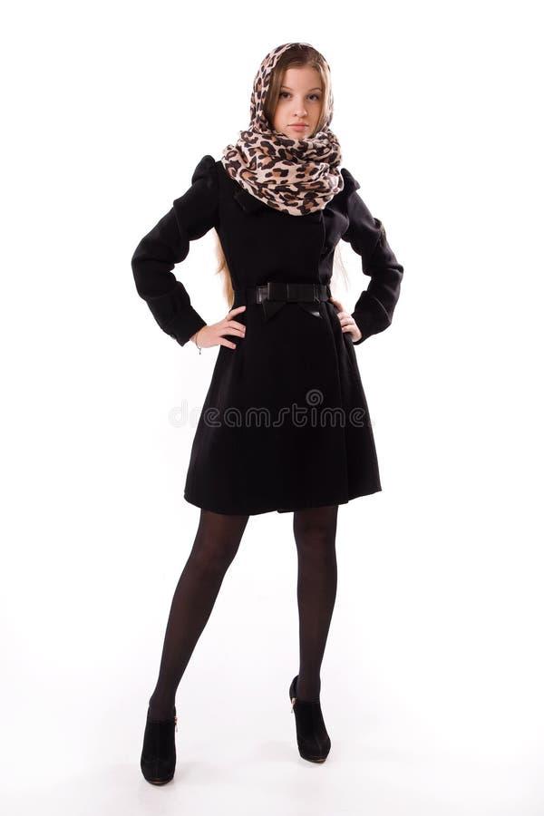 Menina elegante em um revestimento do outono foto de stock royalty free