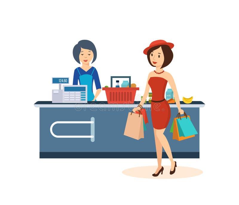 A menina elegante, faz uma grande compra na mercearia ilustração stock