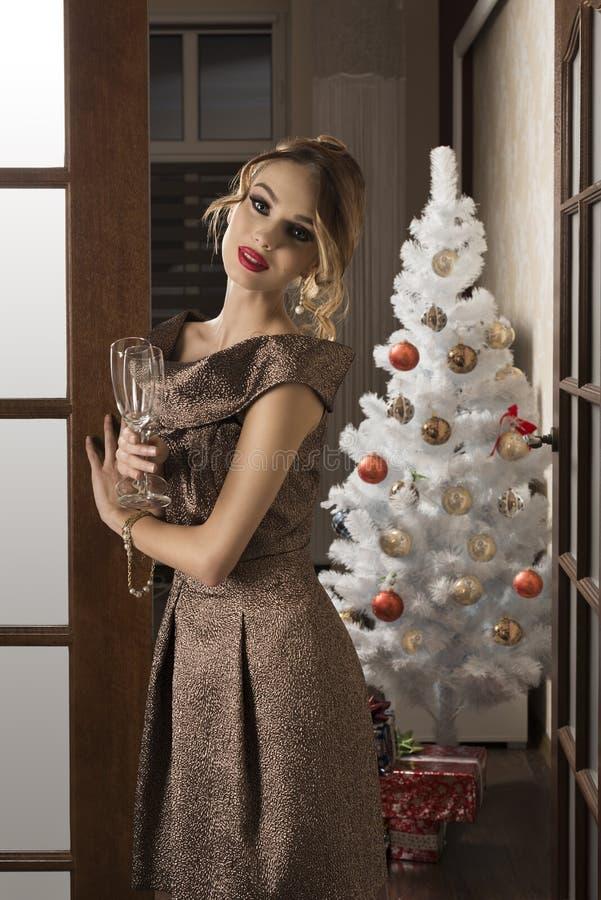 Menina elegante no brinde da noite de Natal fotos de stock royalty free