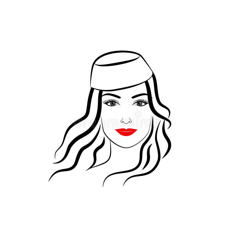 Menina elegante no chapéu com ondas fotografia de stock
