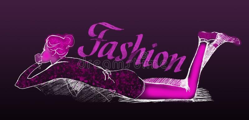 A menina elegante no perfil encontra-se no sof? com seus p?s levantados em preto e em cor-de-rosa ilustração royalty free