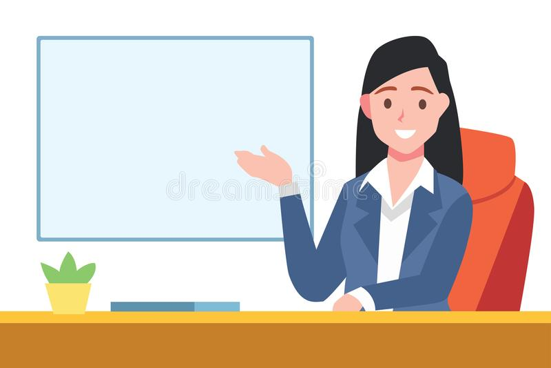 A menina elegante senta-se na cadeira que apresenta algo no whiteboard ilustração royalty free