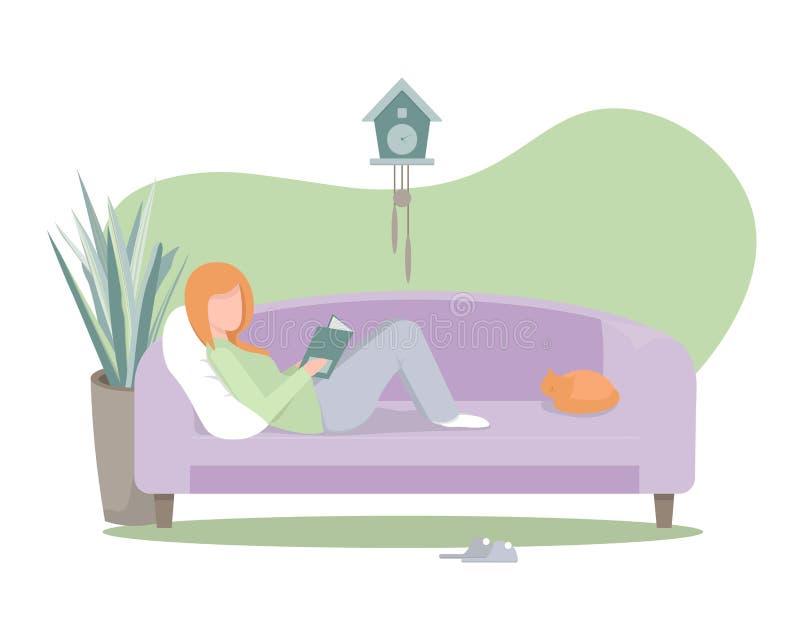 Menina em casa com livro ilustração royalty free