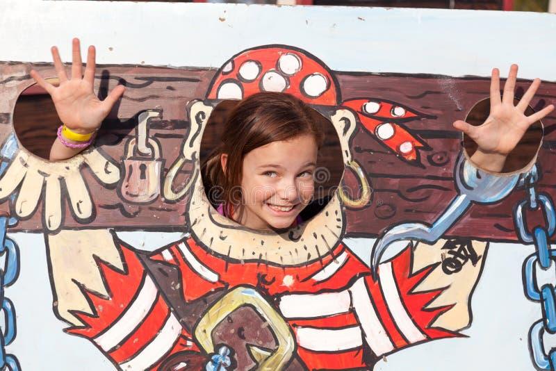Menina em estoques dos desenhos animados fotografia de stock royalty free