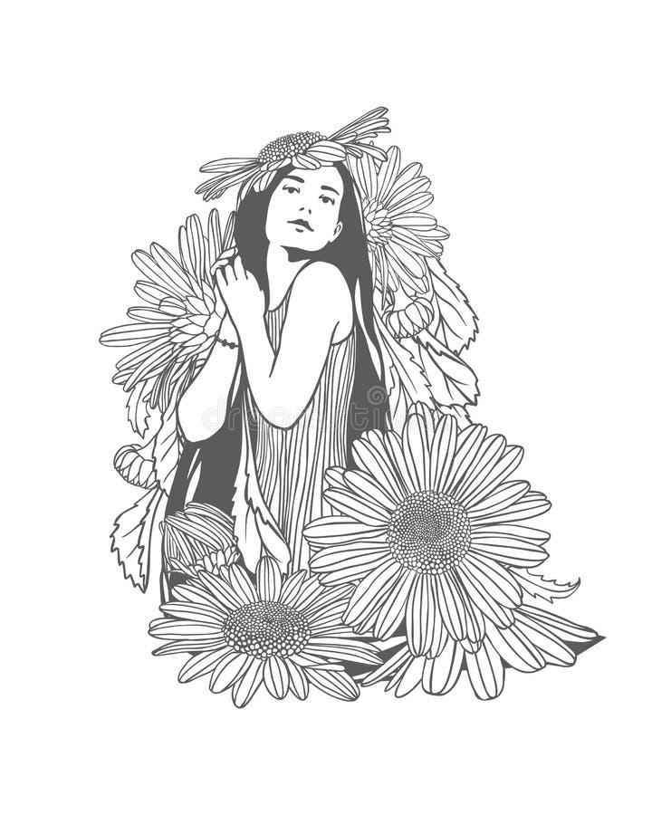 Menina em flores da camomila Ilustração linear ilustração royalty free