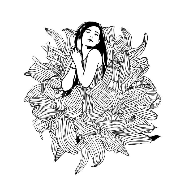 Menina em flores do lírio Vetor ilustração stock