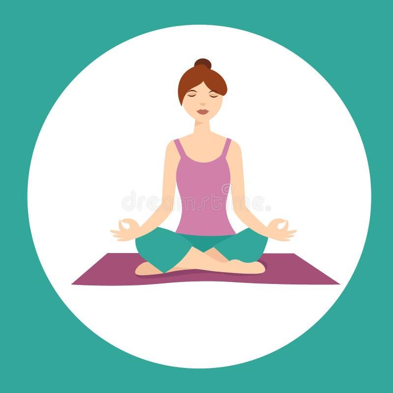 Menina em Lotus Yoga Position Vetor ilustração royalty free