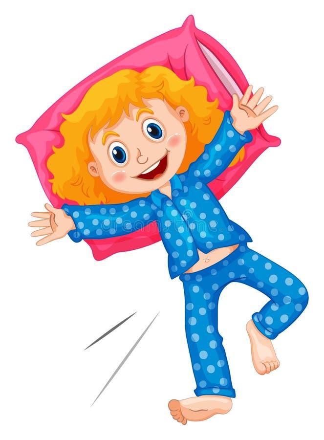 Menina em pijamas azuis dos às bolinhas ilustração royalty free
