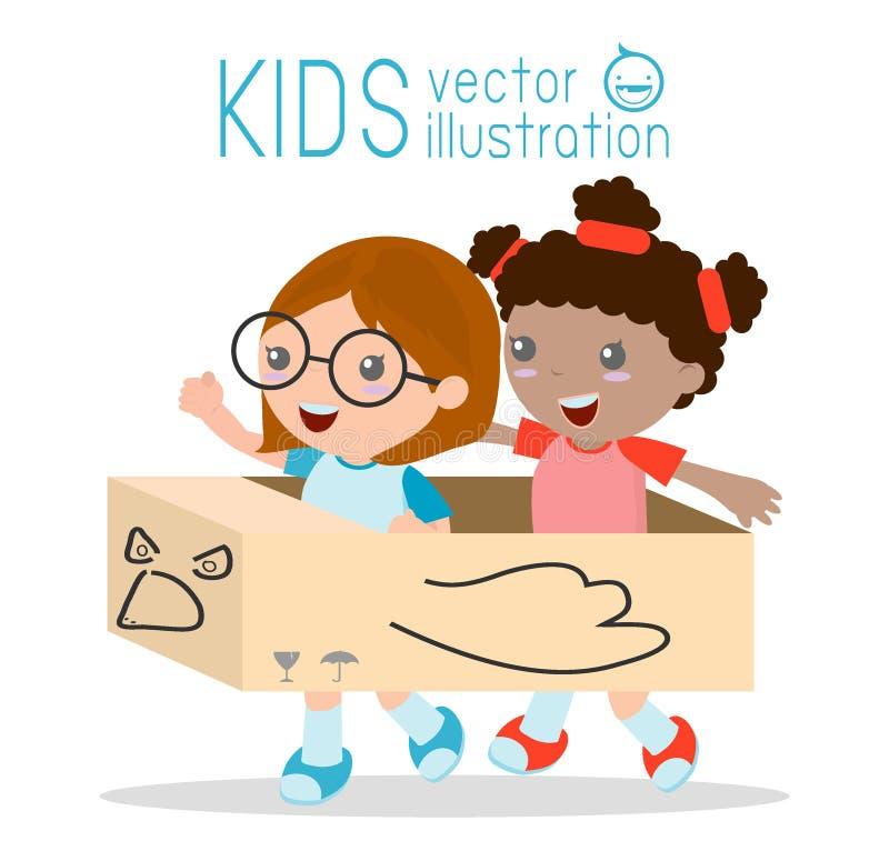 Menina em um avião do cartão, crianças que jogam, criança feliz, ilustração do vetor ilustração royalty free