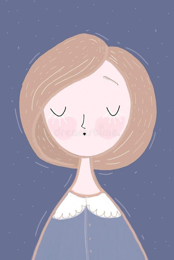 Menina em um azul ilustração do vetor