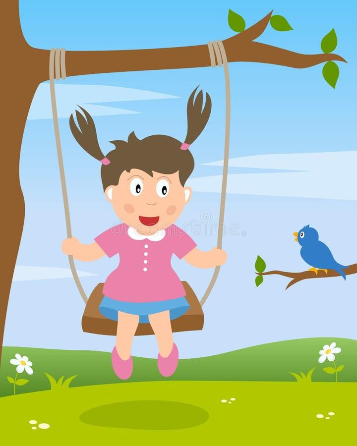 Menina em um balanço ilustração royalty free