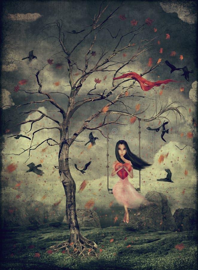 Menina em um balanço nas madeiras ilustração royalty free