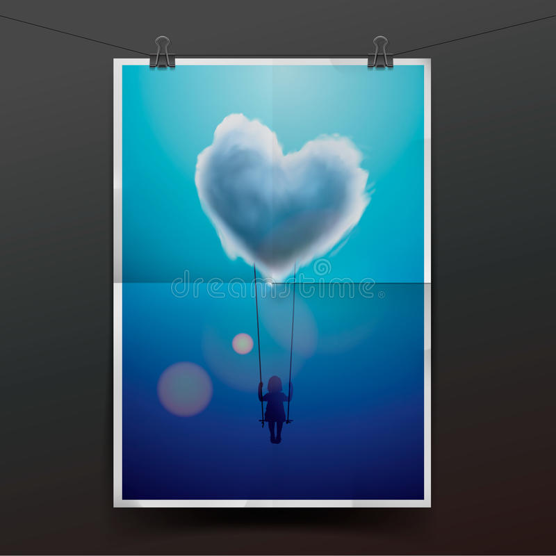 Menina em um balanço sob a nuvem da forma do coração ilustração royalty free