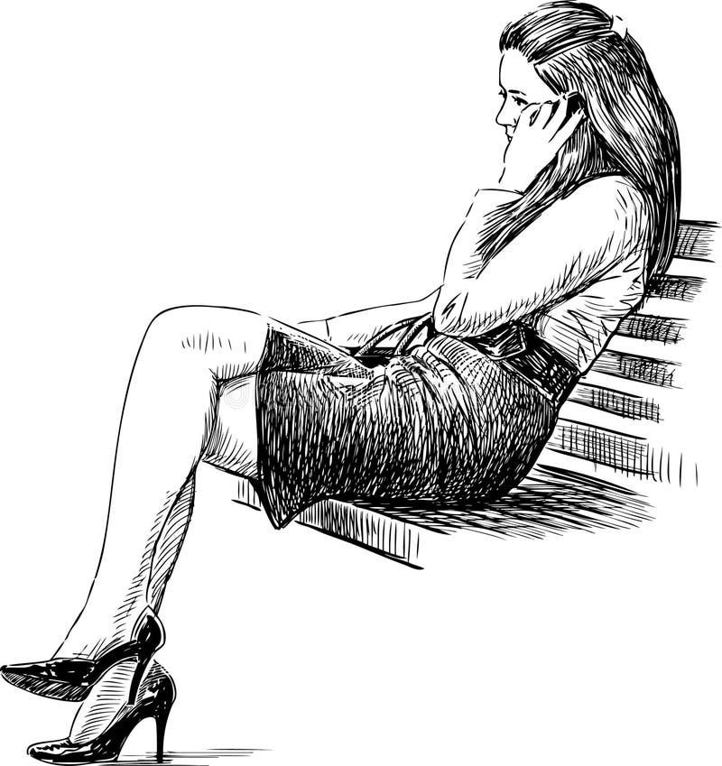 Menina em um banco ilustração stock