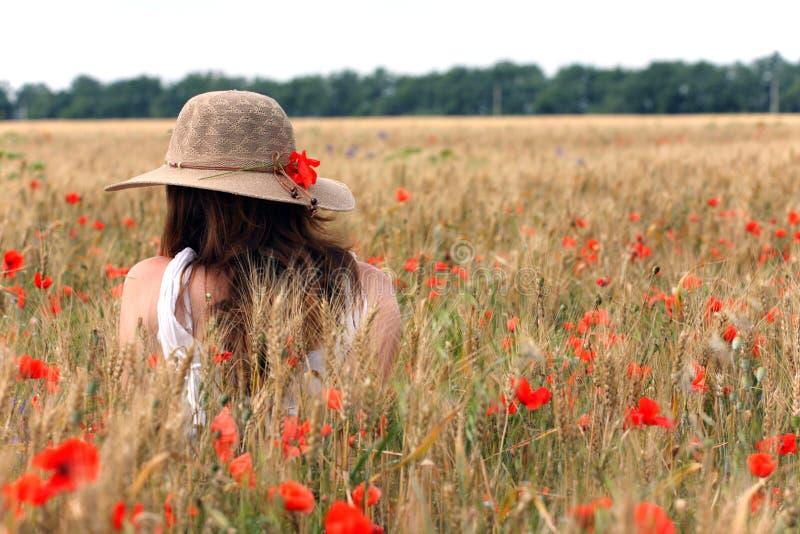 Menina em um campo de trigo imagens de stock royalty free