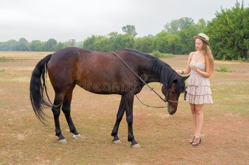 A menina em um chapéu de palha e o verão vestem-se com um cavalo fotografia de stock