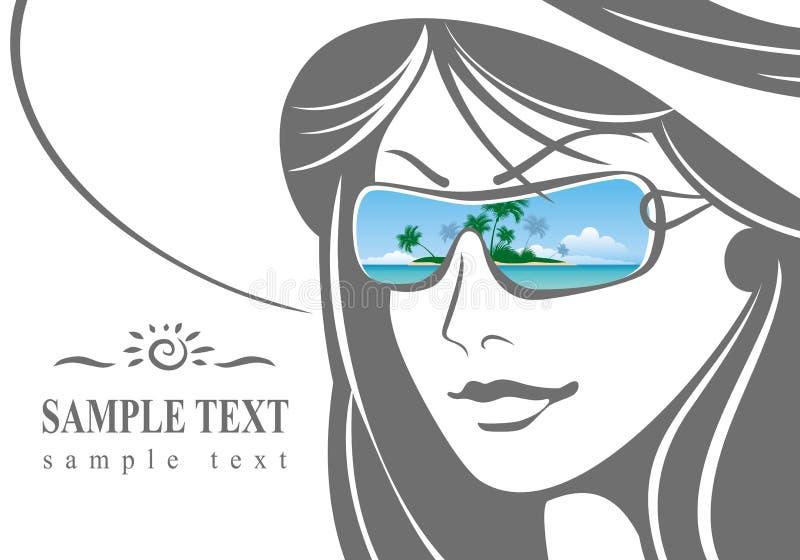 Menina em um chapéu e em óculos de sol ilustração royalty free