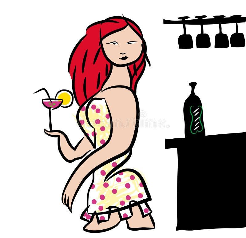 Menina em um clube noturno ilustração royalty free