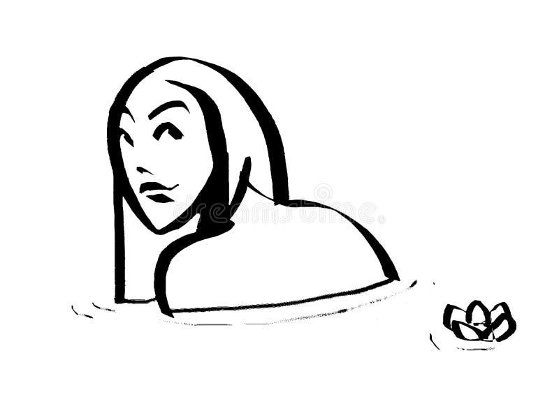 Menina em um desenho do banho fotografia de stock