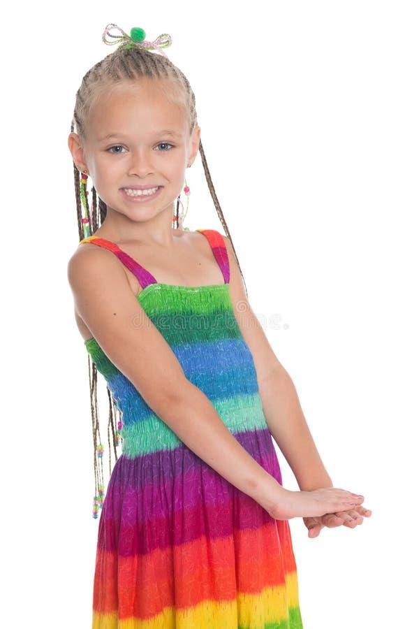 Menina em um fundo branco fotos de stock