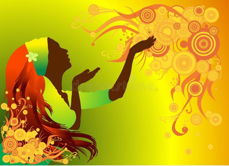 Menina em um fundo da flor ilustração stock