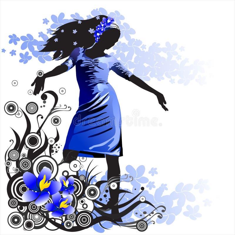 Menina em um fundo da flor ilustração royalty free