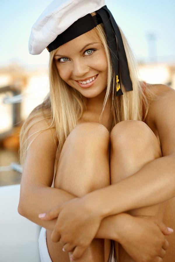 Menina em um iate fotografia de stock