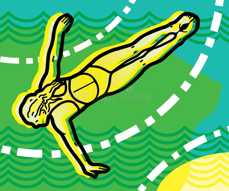 Menina em um mergulho com seus braços largamente abertos ilustração stock