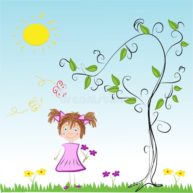 Menina em um prado em Sunny Day ilustração royalty free