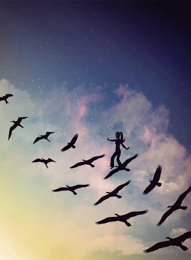 Menina em um rebanho de pássaros de voo, de nuvens mágicas e de céu, sonho, desejo ilustração royalty free