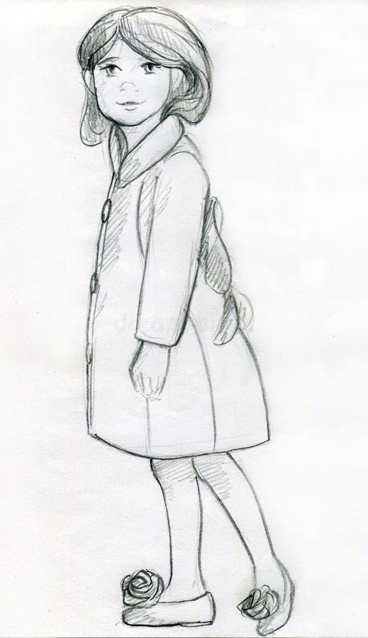 Menina em um revestimento extravagante - esboço do lápis imagens de stock royalty free