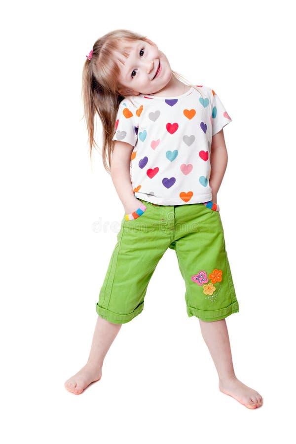 Menina em um t-shirt com corações imagem de stock royalty free