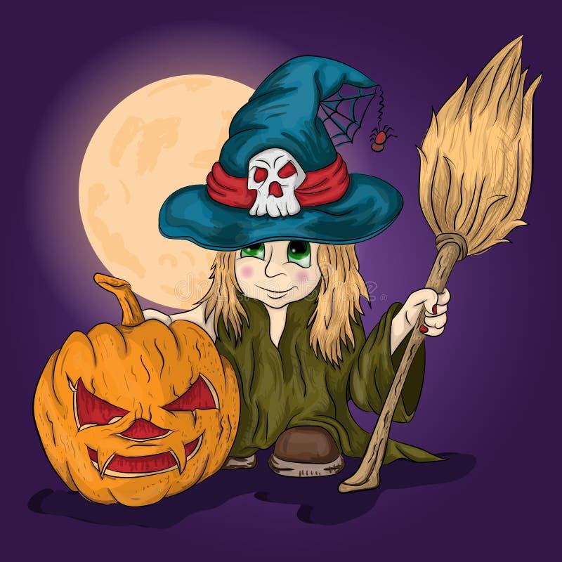 Menina em um traje da bruxa com uma vassoura em suas mãos ilustração royalty free